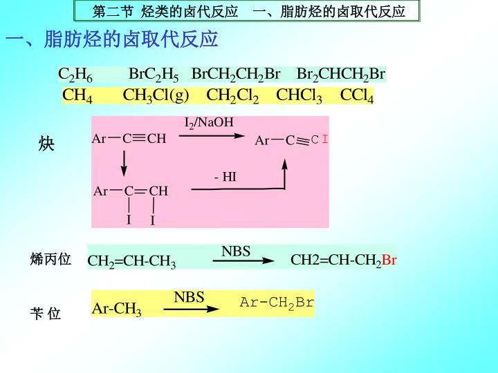 一、脂肪烃的卤取代反应