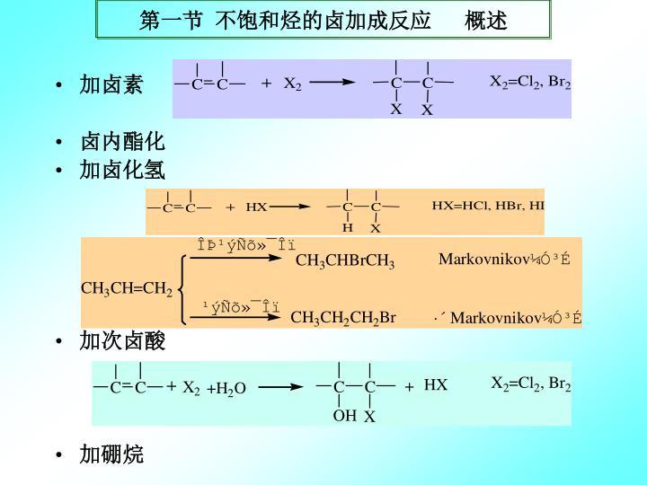 第一节 不饱和烃的卤加成反应   概述