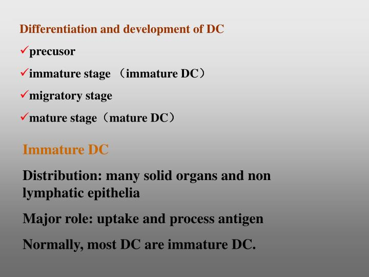 Differentiation and development of DC