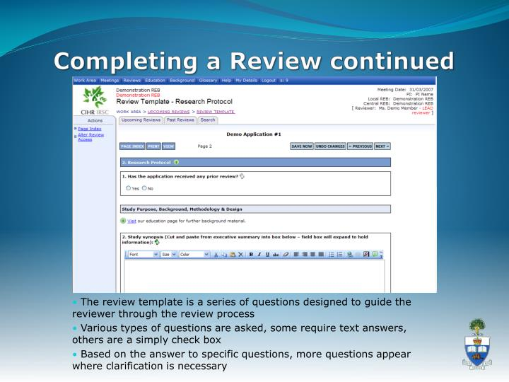 Completing a Review continued