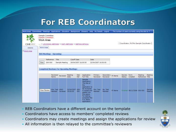 For REB Coordinators