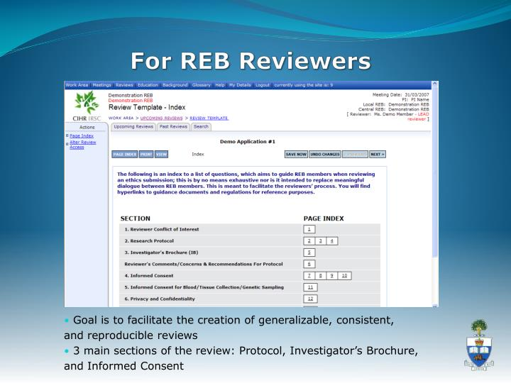 For REB Reviewers
