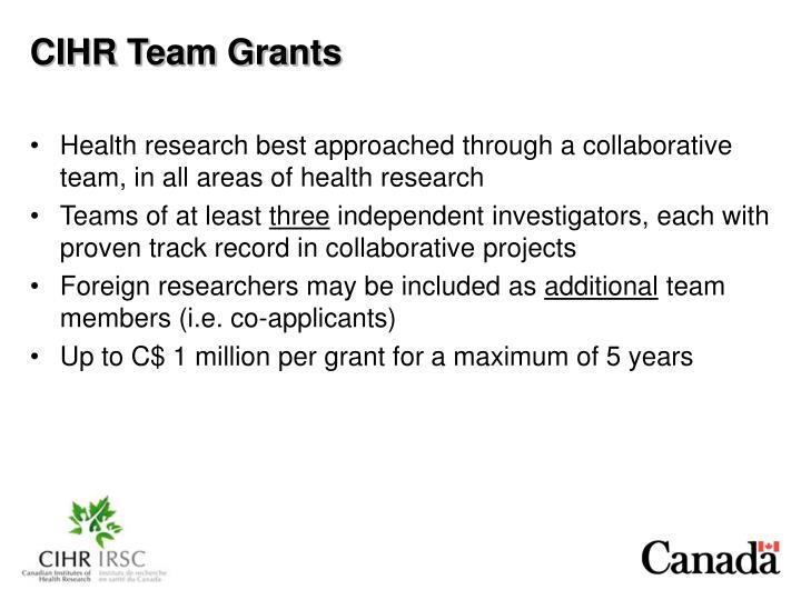 CIHR Team Grants