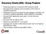 discovery grants dg group projects