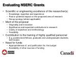 evaluating nserc grants