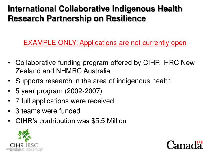 International Collaborative Indigenous Health Research Partnership on Resilience