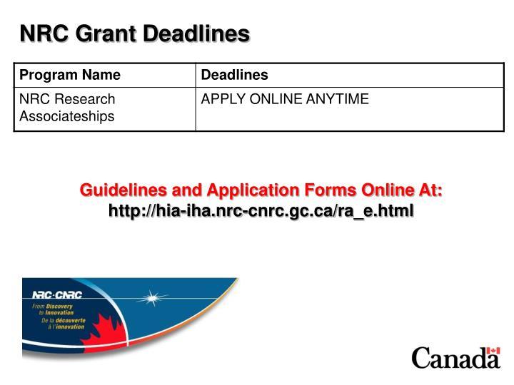 NRC Grant Deadlines