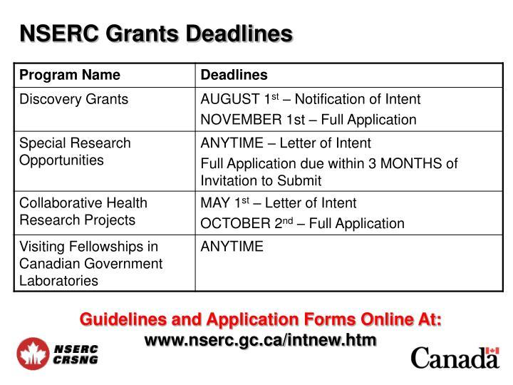 NSERC Grants Deadlines