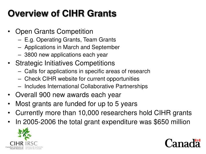 Overview of CIHR Grants