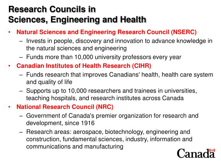 Research councils in sciences engineering and health