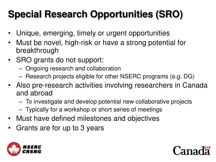 Special Research Opportunities (SRO)