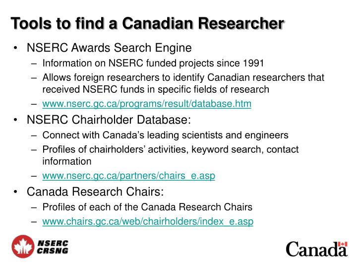 Tools to find a Canadian Researcher