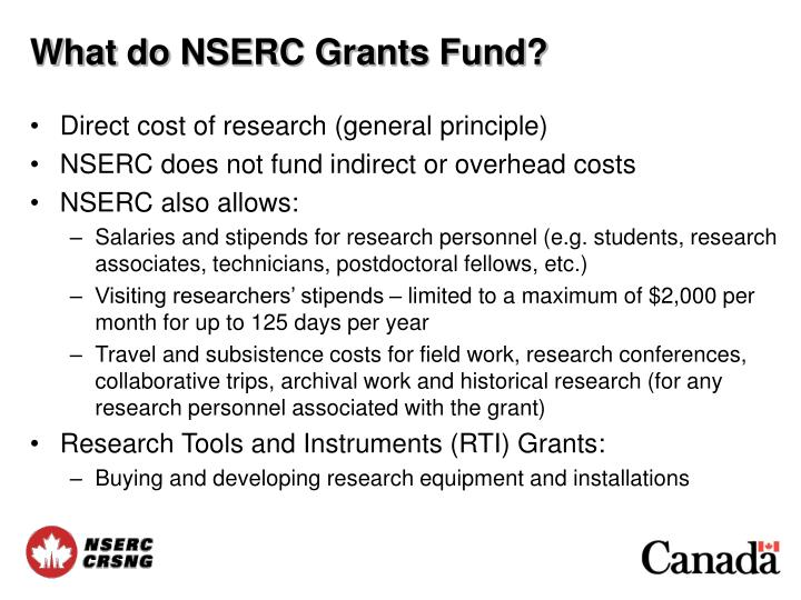 What do NSERC Grants Fund?