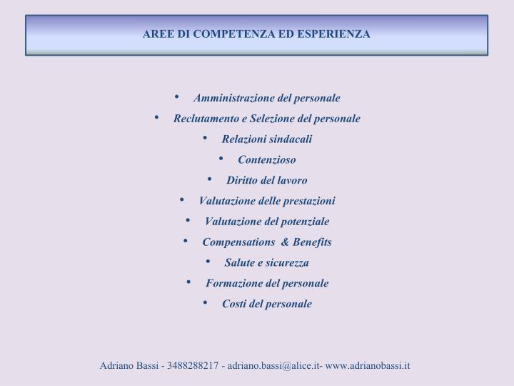 AREE DI COMPETENZA ED ESPERIENZA