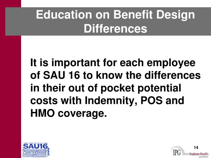 Education on Benefit Design Differences