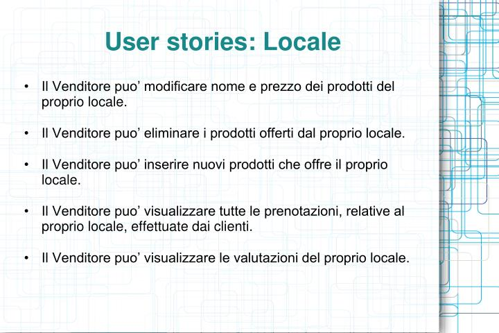 User stories: Locale