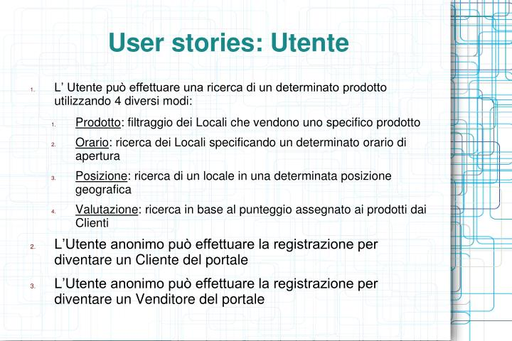 User stories: Utente