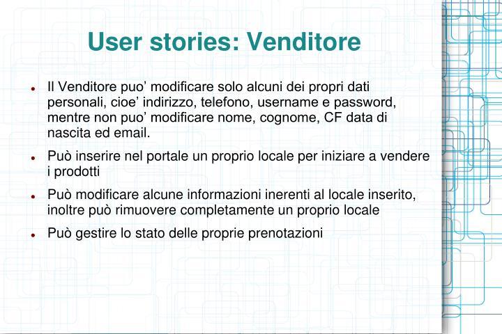User stories: Venditore
