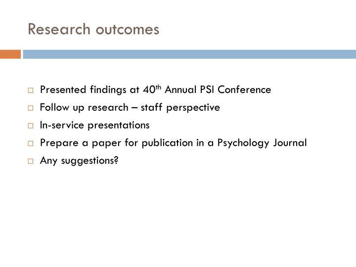 Research outcomes