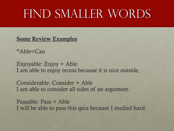 Find Smaller Words