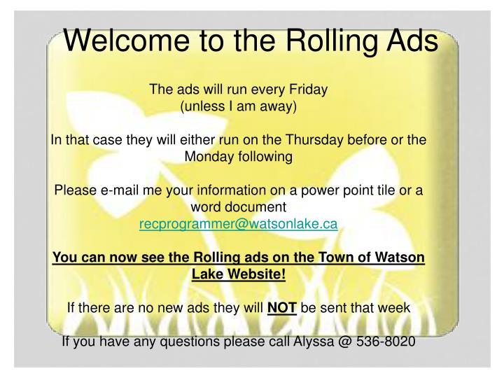 Welcome to the Rolling Ads