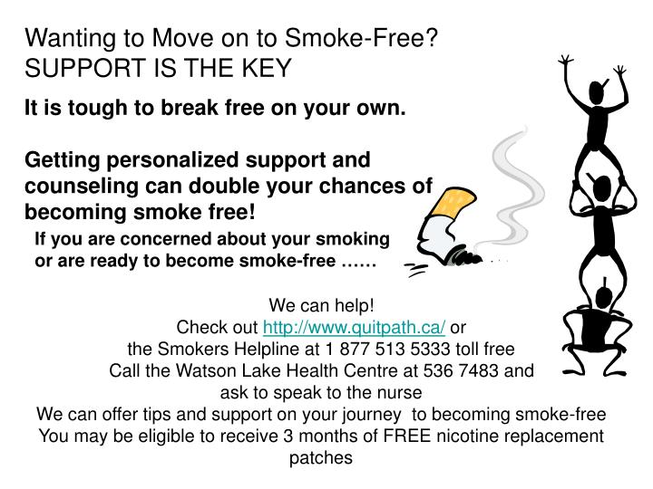 Wanting to Move on to Smoke-Free?                   SUPPORT IS THE KEY