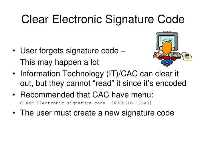Clear Electronic Signature Code