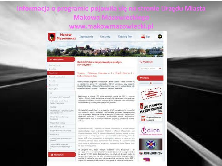 Informacja o programie pojawiła się na stronie Urzędu Miasta Makowa Mazowieckiego