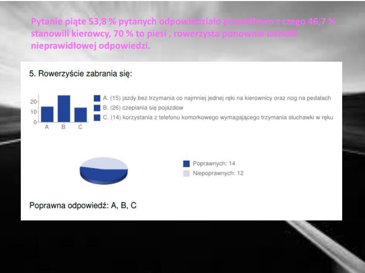 Pytanie piąte 53,8 % pytanych odpowiedziało prawidłowo z czego 46,7 % stanowili kierowcy, 70 % to piesi , rowerzysta ponownie udzielił nieprawidłowej odpowiedzi.