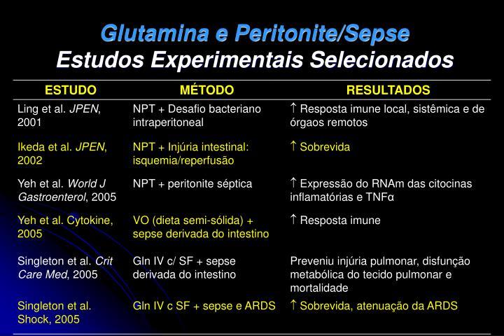 Glutamina e Peritonite/Sepse