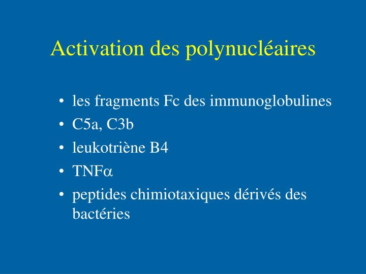Activation des polynucléaires