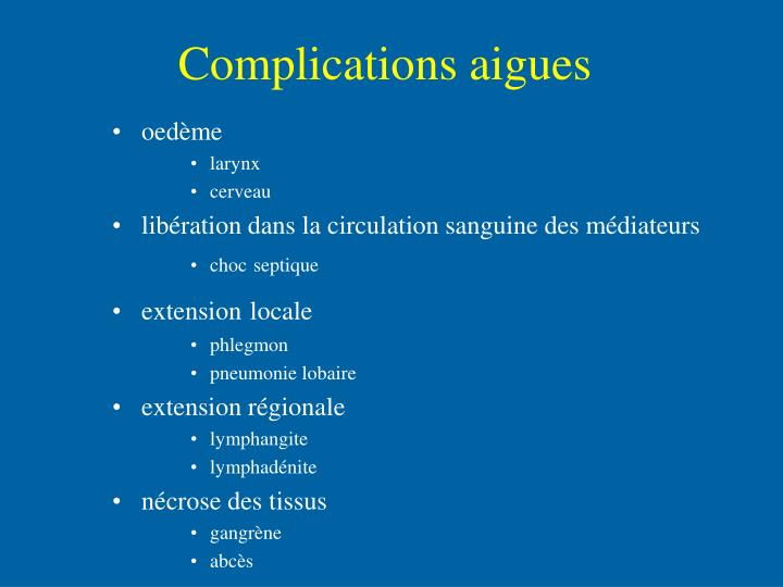 Complications aigues