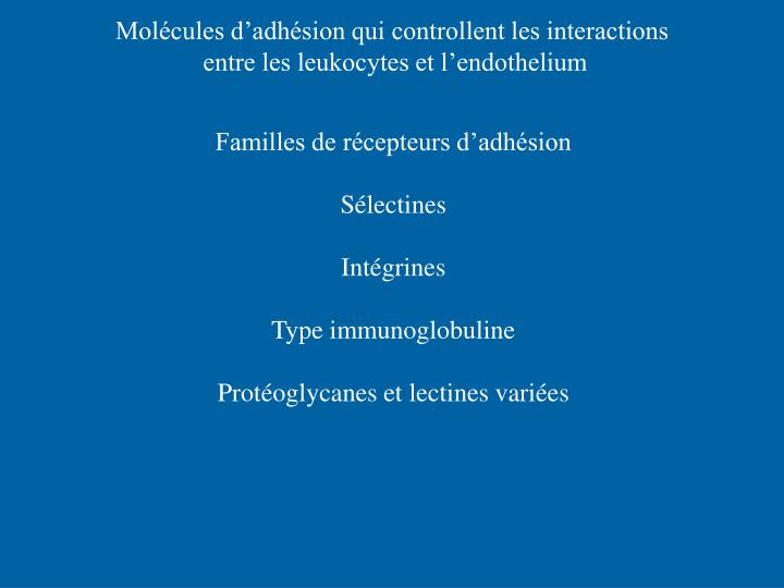 Molécules d'adhésion qui controllent les interactions
