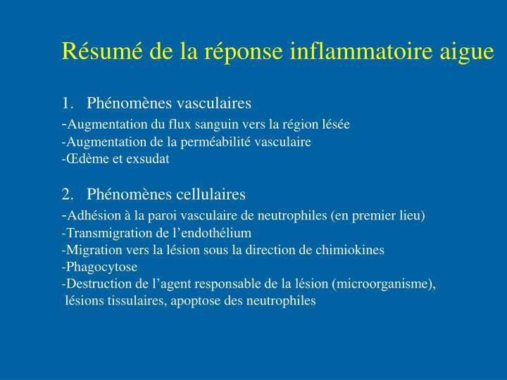 Résumé de la réponse inflammatoire aigue