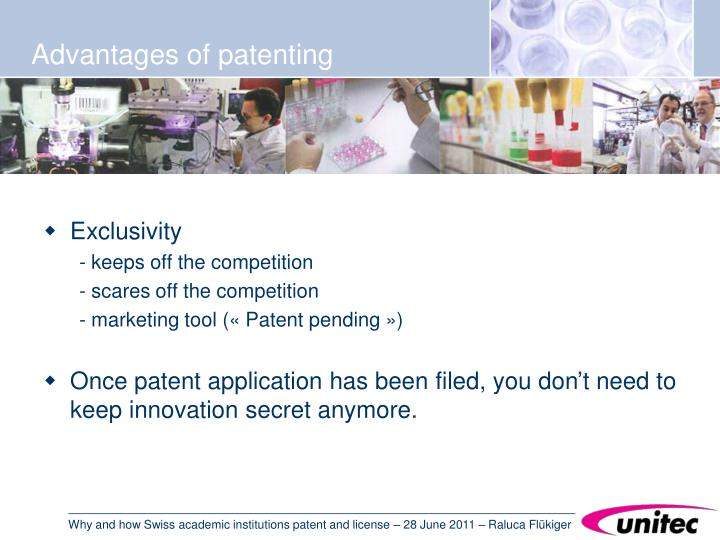 Advantages of patenting
