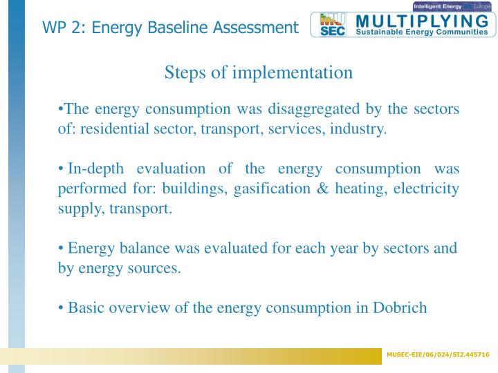 WP 2: Energy Baseline Assessment