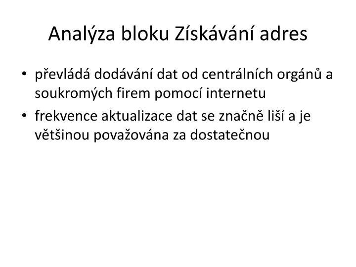 Analýza bloku Získávání adres