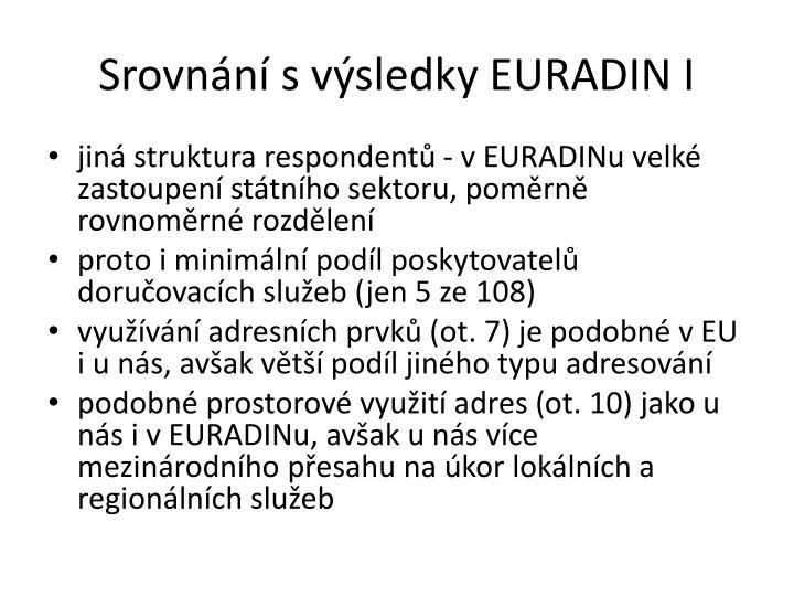 Srovnání s výsledky EURADIN I