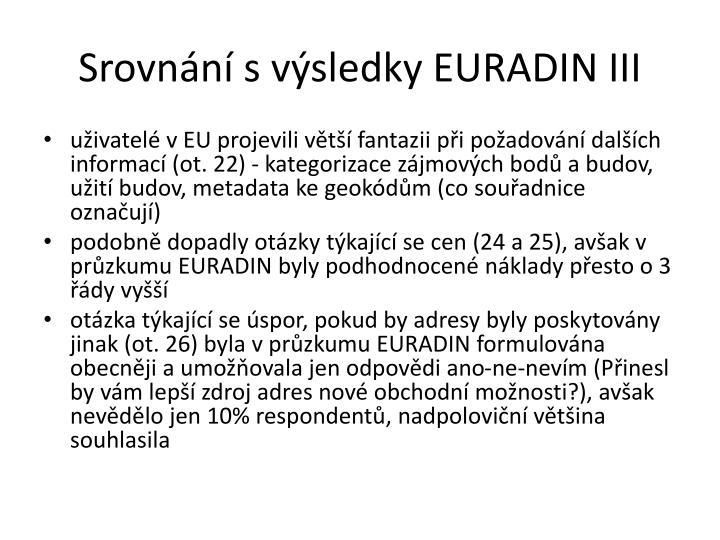 Srovnání s výsledky EURADIN III