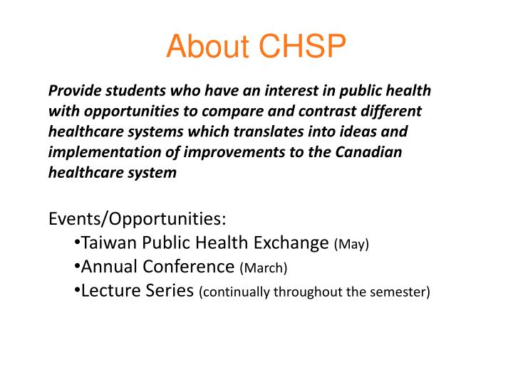 About CHSP