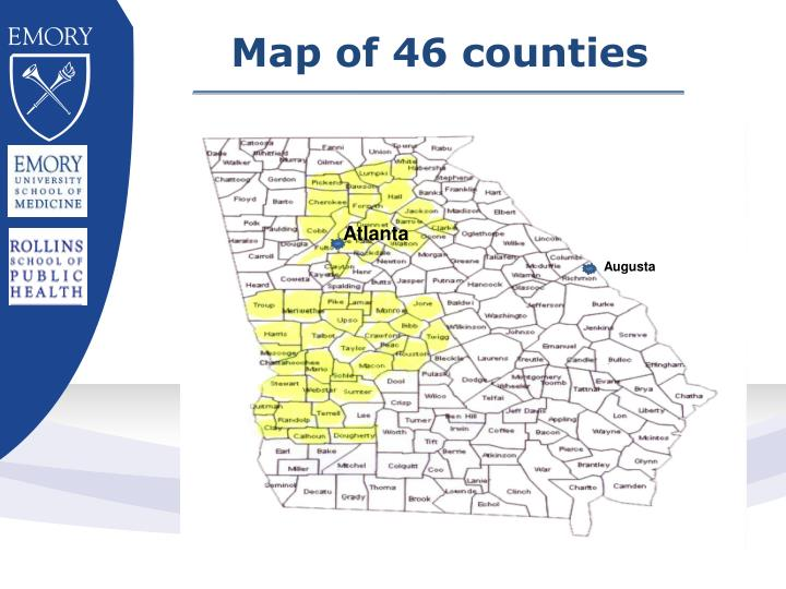 Map of 46 counties
