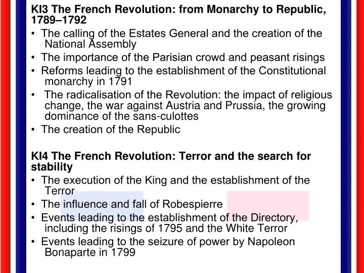 KI3 The French Revolution: from Monarchy to Republic, 1789–1792