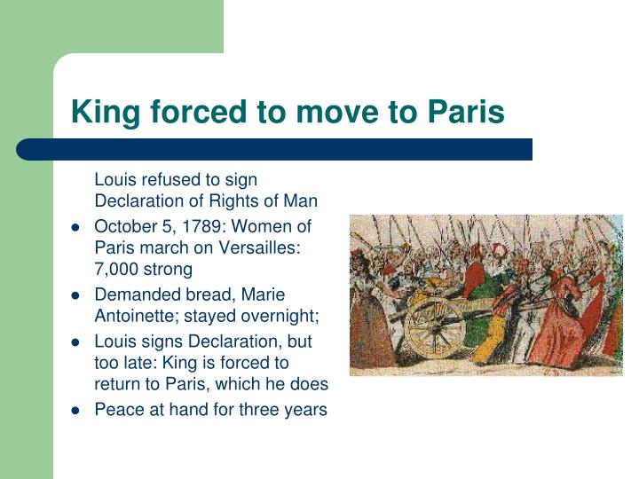 King forced to move to Paris