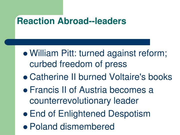 Reaction Abroad--leaders