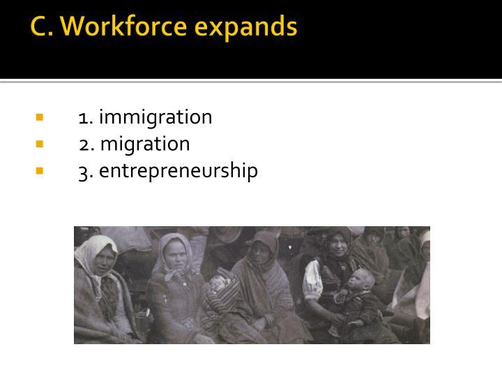 C. Workforce expands
