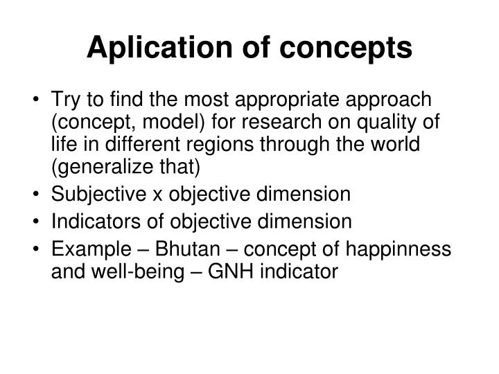Aplication of concepts