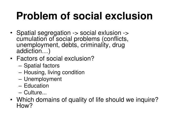 Problem of social exclusion