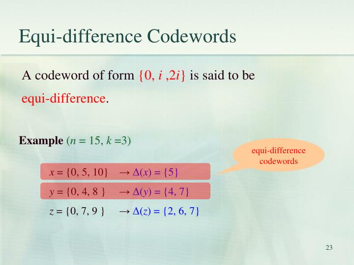 Equi-difference Codewords