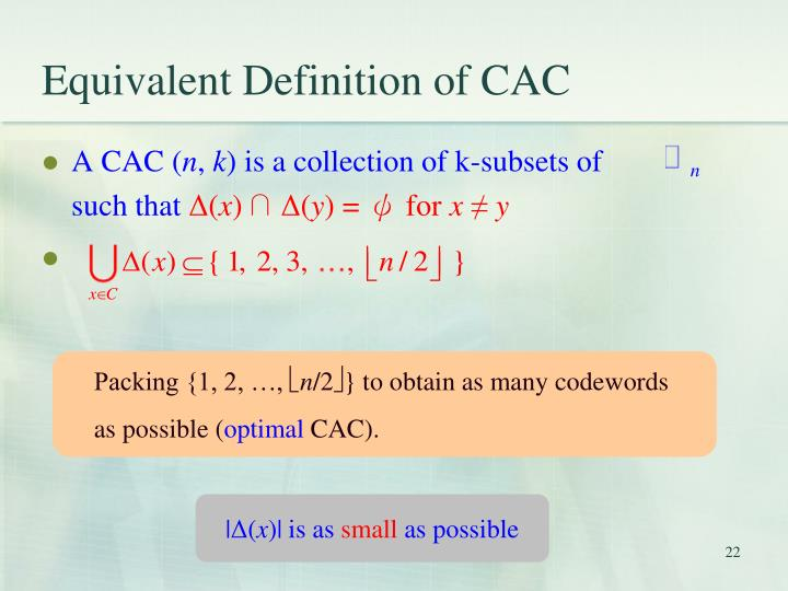 Equivalent Definition of CAC