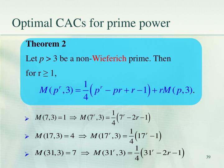 Optimal CACs for prime power